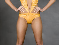 An with yellow swimsuite Royalty Free Stock Photo