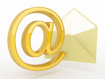 Yellow @ symbol and envelope icon. 3d high quality render Royalty Free Stock Images