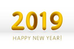 Yellow 2019 symbol, happy new year isolated on white background, vector illustration. Art vector illustration