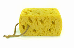 Yellow synthetic sponge on white background. Royalty Free Stock Images