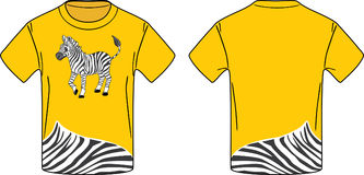Yellow t-shirt with a zebra. Illustration Stock Photography