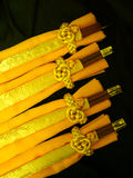 Yellow Table Napkins & Chop sticks Royalty Free Stock Photos