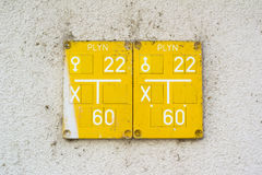 Gas line. Yellow table on the wall. Czech text Plyn Gas is on the sign. Sheet describes and locate piping and network for distribution of gas from gasworks to Royalty Free Stock Photography