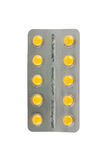 Yellow tablet in blister tablet Stock Photo
