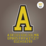 Yellow Tackle Twill Alphabet and Digit Vector. Set of Yellow Tackle Twill Alphabet and Digit Vector Royalty Free Stock Photos