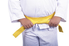 Yellow Taekwondo belt for martial arts Royalty Free Stock Photo