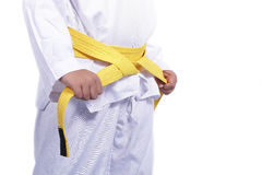 Yellow Taekwondo belt for martial arts Stock Photography