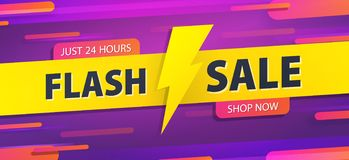 Yellow tag Flash sale 24 hour promotion website banner heading design on graphic purple background vector for banner or poster. Sale and Discounts Concept stock illustration