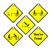 Yellow tag You are fired story boss complain employee. Set of yellow tag You are fired story boss complain employee Stock Photo