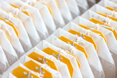Yellow tagged teabags. Royalty Free Stock Photography