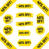 40% Off sales tag illustrations Royalty Free Stock Images