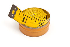 Yellow tailor's meter Royalty Free Stock Image
