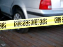 Yellow Tape Marks Crime Scene Royalty Free Stock Photo