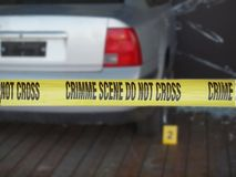 Yellow Tape Marks Crime Scene Stock Images