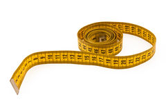 Yellow tape measure. Isolated on white stock images