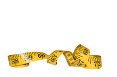 Yellow Tape Measure Isolated on White Royalty Free Stock Image