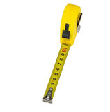 Yellow tape measure isolated on white. Background Royalty Free Stock Image