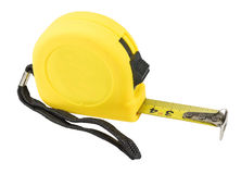 Yellow tape measure isolated on white. Background Stock Image