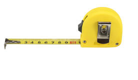 Yellow tape measure isolated on white. Background Stock Photo