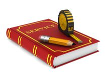 Yellow tape measure and pencil and red book on white background. Stock Photography
