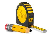 Yellow tape measure and pencil on white background. isolated 3d. Illustration Royalty Free Stock Photos