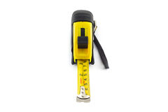 Yellow tape measure or steel tape isolated white background. Royalty Free Stock Images