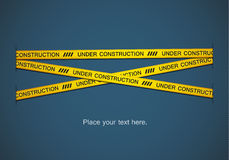 Yellow tape. S with under construction text on blue background. EPS10 Stock Photography