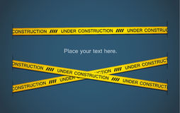 Yellow tape. S with under construction text on blue background. EPS10 Stock Photos