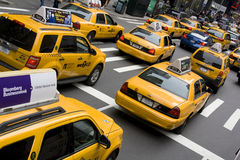 Yellow Tax Cabs, New York City Royalty Free Stock Images