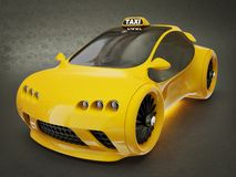 Yellow taxi. Modern yellow taxi on a black background Royalty Free Stock Image