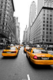 Yellow Taxi. Taxi on the  Street of New York in black and white with yellow cabs, Manhattan.Photo taken on Oct 21st, 2011