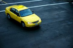 Yellow Taxi. An above view of a Yellow Taxi cab stock image