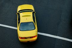Yellow Taxi. An above view of a Yellow Taxi cab Royalty Free Stock Photo