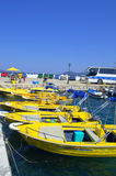 Yellow taxi boats Royalty Free Stock Photography