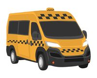 Yellow taxi bus vector drawing illustration stock photo