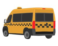 Yellow taxi bus vector drawing illustration stock photography