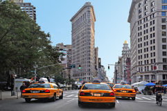 Yellow taxi cab on 5th Av Stock Images