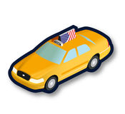 Yellow taxi cab isometric Royalty Free Stock Image