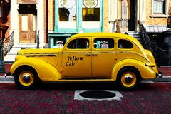 Yellow taxi cab Stock Images