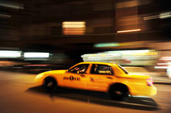 Yellow taxi cab service at night Royalty Free Stock Photography
