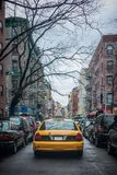 Yellow taxi cab on the street of New York City Stock Photography