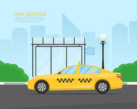 Yellow taxi cab waiting passengers at a bus stop near the park. Template for a banner or billboard Taxi service. Royalty Free Stock Photography