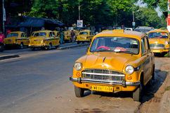 Yellow taxi cabs  in Kolkata, India. Stock Photo