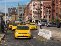 Yellow Taxi Cabs are lined Up Royalty Free Stock Images