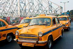Yellow taxi cabs stop in traffic jam street Royalty Free Stock Image