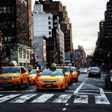Yellow taxis royalty free stock photography