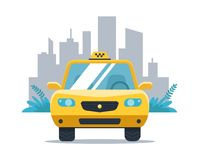 Yellow taxi car on the background of the city. White background. vector illustration