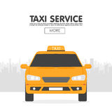 Yellow taxi car in front of city silhouette,  illustration in simple flat design Stock Photography