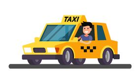 Yellow taxi car. With funny taxi driver. Vector Stock Photo