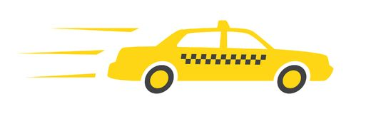 Yellow taxi car isolated on white background. Taxi service. Yellow taxi cab Royalty Free Stock Image